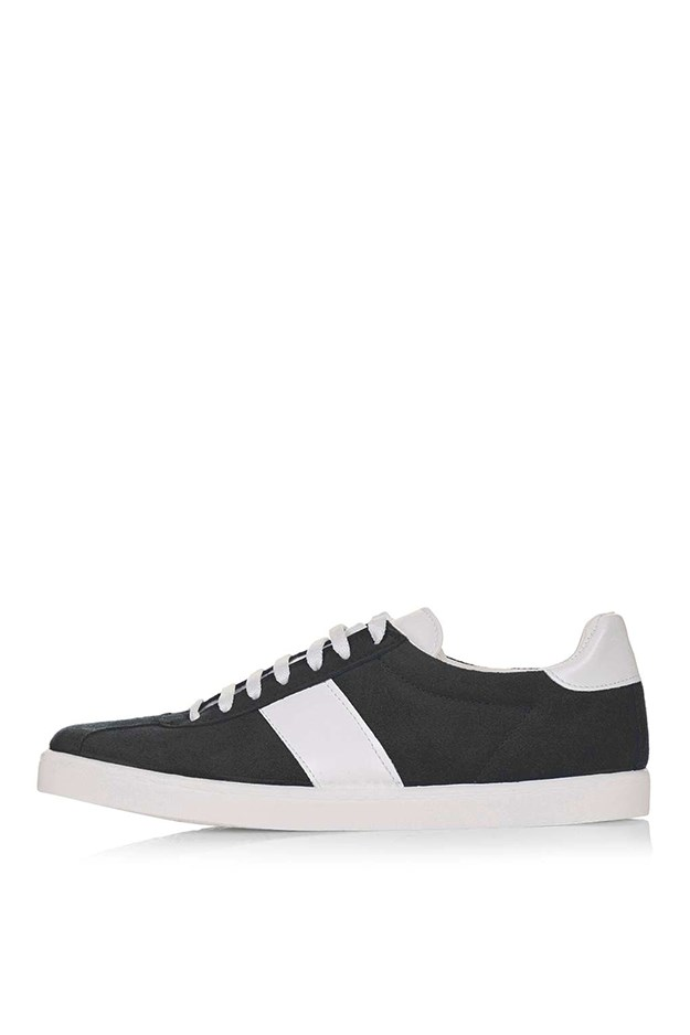 """<a href=""""http://www.topshop.com/en/tsuk/product/caper-lace-up-trainers-5157305?bi=20&ps=20"""">Topshop trainers, $52, topshop.com</a>"""