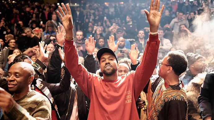 Kanye West performs during Kanye West Yeezy Season 3 on February 11, 2016 in New York City.