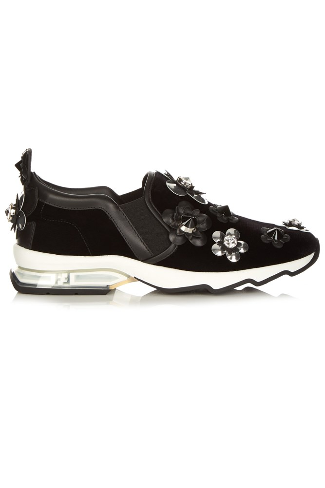 """<strong>All that glitters</strong><br><br> <a href=""""http://www.matchesfashion.com/au/products/Fendi-Flowerland-velvet-trainers-1051642"""">Trainers, $1473, Fendi</a>"""