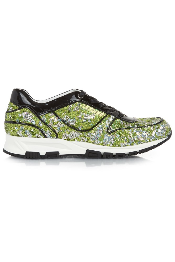 """<strong>All that glitters</strong><br><br> <a href=""""http://www.matchesfashion.com/au/products/Lanvin-Sequin-embellished-and-patent-leather-trainers-1046793"""">Sneakers, $614, Lanvin</a>"""