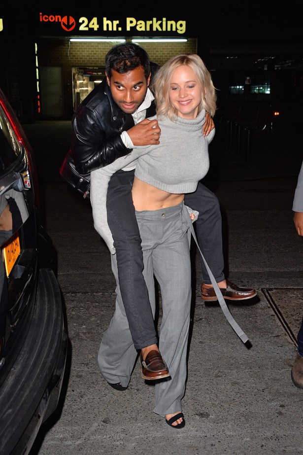 Jennifer Lawrence and Aziz Ansari.