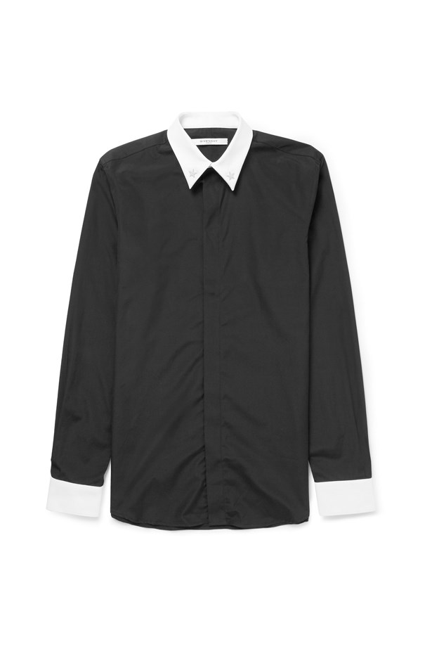 "<p> THE COLOUR BLOCK COMBO<p> <p> All black is a classic look, but the bright and contrasting white collar and cuffs on this shirt make it stand out. Stars are Givenchy's signature 'street' look, so keep up appearances with distressed black skinny jeans and your best sneakers.<p> <p> Shirt, $715, Givenchy at <a href=""http://www.mrporter.com/en-au/mens/givenchy/star-embellished-cotton-shirt/704573?ppv=2#"">mrporter.com</a>"
