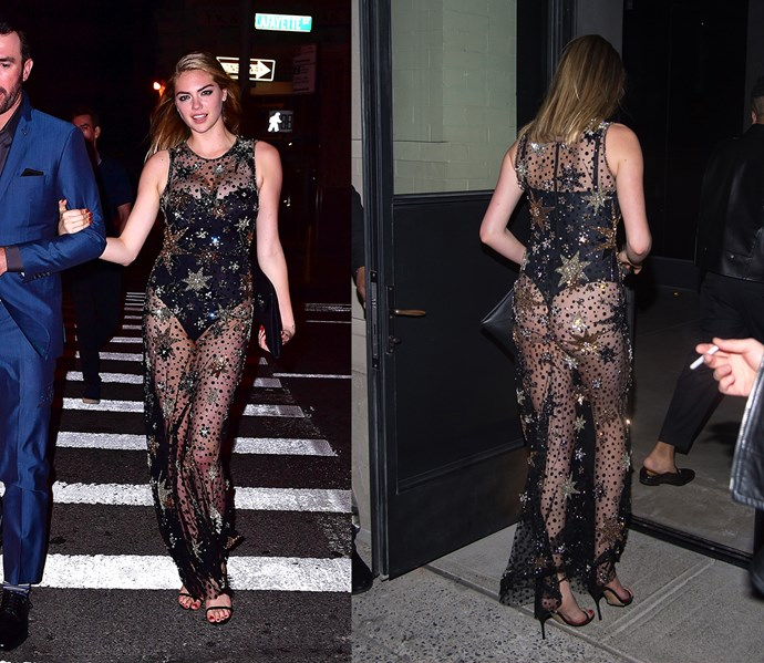 Kate Upton went very naked with her dress for her birthday party in New York. She suffered an itsy-bitsy wardrobe malfunction (her dress ripped near the bottom of her body suit) but handled it like a pro.