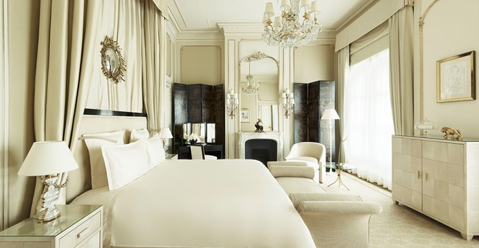 "The <a href=""http://www.ritzparis.com/en-GB/luxury-hotel-paris/prestige-suites/coco-chanel-suite"">Suite Coco Chanel</a>, dedicated to the Chanel founder by her beloved hotel. During her stay there, she decorated her suite herself, and the hotel has interpreted her sensibilities through ""Asian lacquer, gilded mirrors and the pairing of black with white."" If you have a spare $39,000 (€25,000) you can call it your home too—if only for the night."