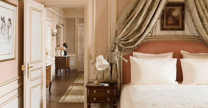 "Dedicated to the hotelier who founded both the Ritz Paris and Ritz London on the premise of ""offering the luxury and comfort of a private mansion,"" the <a href=""http://www.ritzparis.com/en-GB/luxury-hotel-paris/prestige-suites/cesar-ritz-suite"">Suite César Ritz</a> overlooks the Place Vendôme. The room rate starts at a mere $11,400 a night (€7,500)."