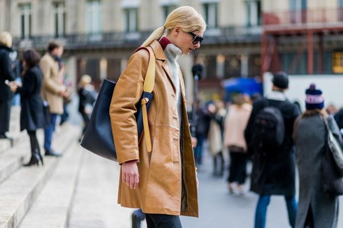 Street style turtleneck sweater