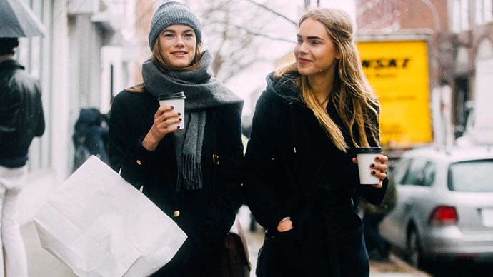 Models drinking coffee