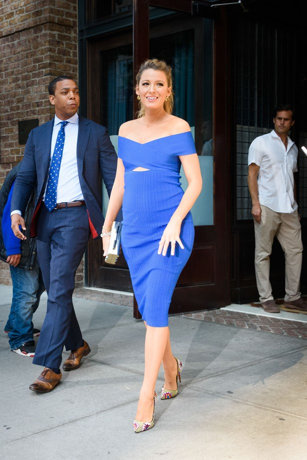 The girl has a blue theme going on clearly. She wore this body-con dress to a recent talk show appearance.