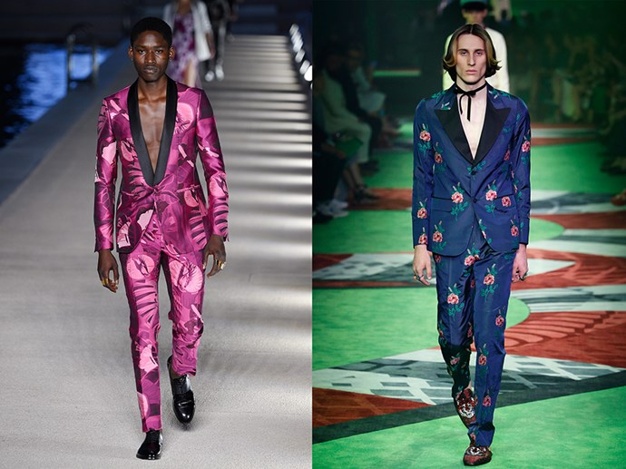 <p> WEAR THE SUIT, SKIP THE SHIRT<P> <P> Both Dirk Bikkembergs (left) and Gucci (right) demonstrated the appeal of the shirtless suit, which requires precisely 1 killer fitted suit, 1 roll of generously used Hollywood tape and 1 dose of confidence.