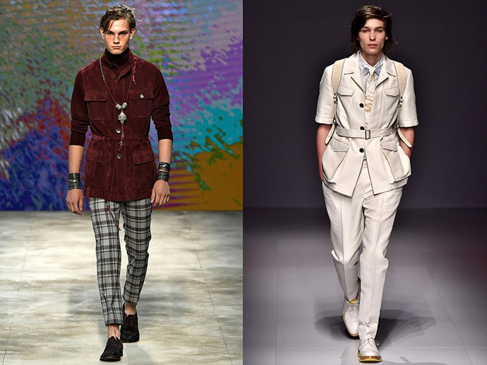 <P> UTILISE THE UTILITY JACKET<p> <p> Frankly, we're all about function, ladies like pockets in their pants and sturdiness to their heels as much as any man. Thankfully Daks (left) and Salvatore Ferragamo (right) understood and blessed us with the utility safari jacket. Salvatore sent down crisp ivory whereas Daks did a rich oxblood. Pick your pocket-filled poison.