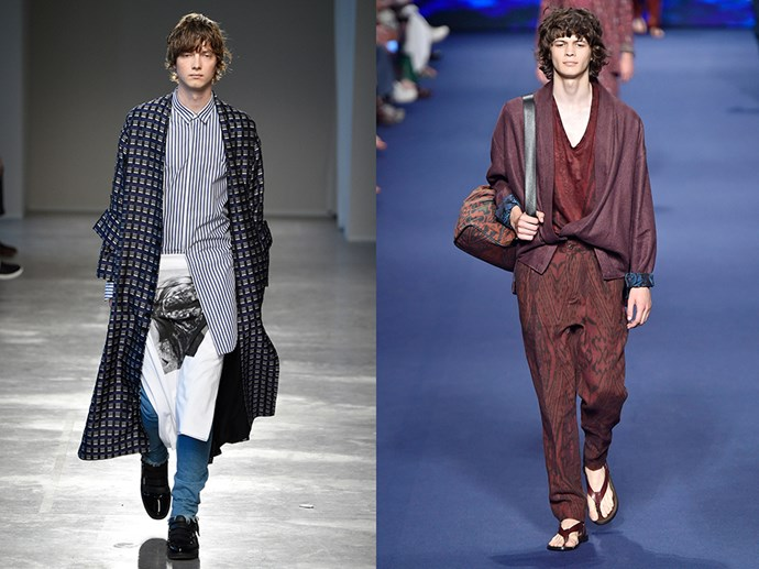 <P> EMBRACE THE SLOUCH<p> <p> Living in the age of skinny jeans, it can be hard to break free of the tight-fitting mold. Thankfully free-flowing Strateas Carlucci (left) and Etro (right) knew what was up. They sent down blissfully slouchy pants, jackets and button-ups. Body-cons can take the day off.