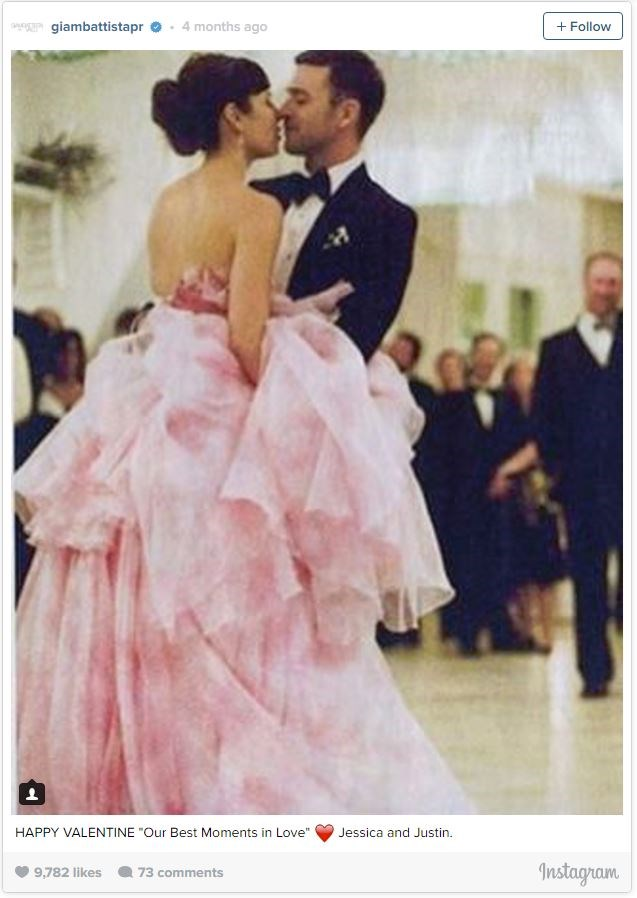 Jessica Biel went with a fluffy pink Giambattista Valli gown for her wedding to Justin Timberlake.