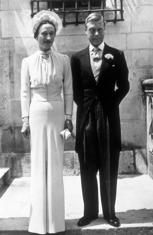 Although you can't tell from the black and white, Wallis Simpson's wedding dress for her wedding to Prince Edward, Duke of Windsor, was actually a pale blue (called 'Wallis Blue', a shade she wore frequently that matched her eyes).