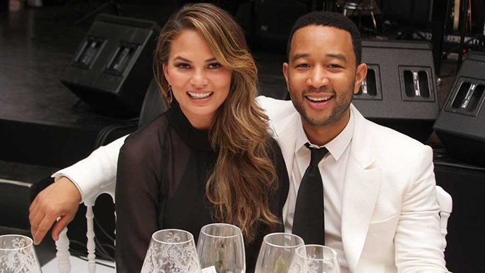 Chrissy Teigen and John Legend attend the White Party Dinner