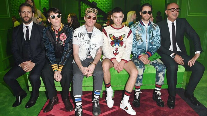 Alessandro Broghi, Ryan McGinley, Trevor Andrew, Olly Alexander, Jared Leto and Marco Bizzarri attend the Gucci show during Milan Men's Fashion Week SS17 on June 20, 2016 in Milan, Italy.