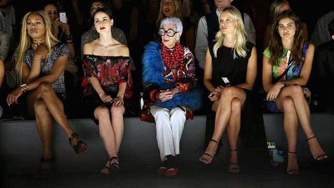 Iris Apfel attends New York Fashion Week