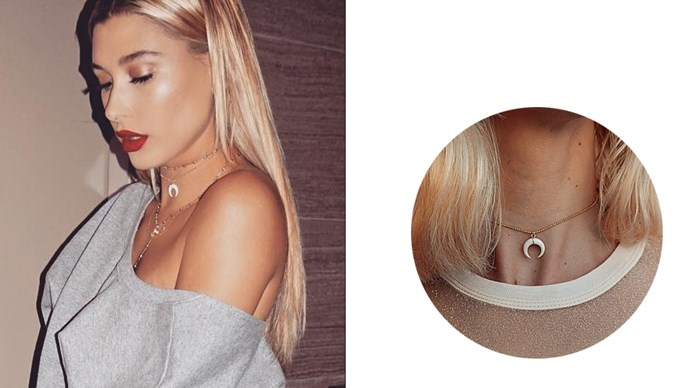 """<a href=""""http://www.liliclaspe.com/collections/chokers/products/horn-choker"""">Lili Claspe 'Horn' choker</a>, $90."""