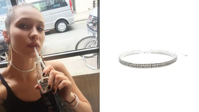 "<a href=""http://www.danielleguiziony.com/jewelry/two-row-pav-choker"">Danielle Guizio 'Two Row Pave' choker</a>, $68."