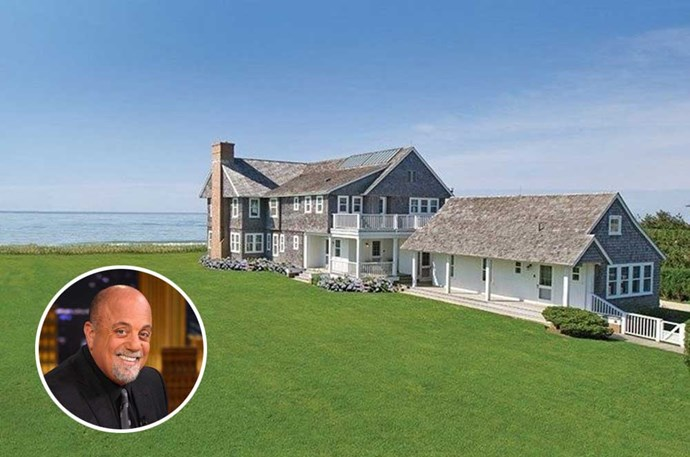"</p><p><b>Billy Joel</b></p><p> Location: Sagaponack, New York</p><p> The piano man bought this <a href=""http://www.elledecor.com/celebrity-style/celebrity-homes/news/a6574/billy-joel-beach-house/"">Hamptons estate</a> in 2007, and quickly put it back on the market in 2009 for $19.95 million. Although he only owned it for a couple of years, Joel vacationed at the beachfront property, which was decorated by Nate Berkus—perfect for his New York State of Mind.<a href=""http://www.elledecor.com/celebrity-style/celebrity-homes/news/a6574/billy-joel-beach-house/""></a>"