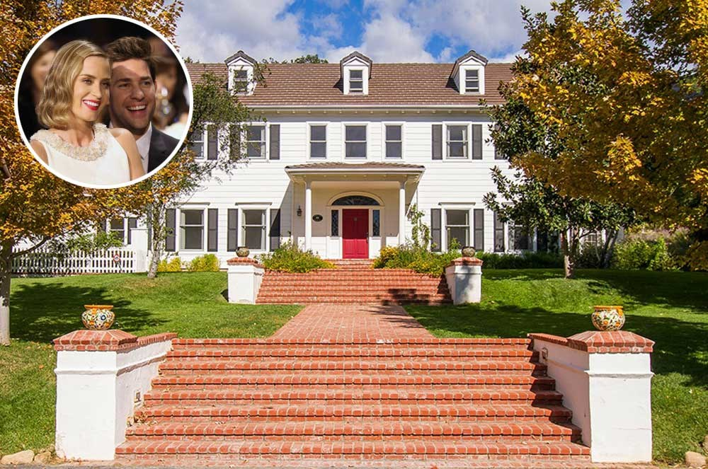 """</p><p><b>Emily Blunt and John Krasinski</b></p><p> Location: Ojai, California</p><p> This gorgeous country home certainly isn't something you'd find in Scranton. The estate, complete with four bedrooms, four fireplaces and a private guest wing, was recently listed for $5.7 million, according to <a href=""""http://www.zillow.com/blog/blunt-krasinski-list-country-home-186414/"""">Zillow</a>. This property was one of three in Southern California that the couple owned."""