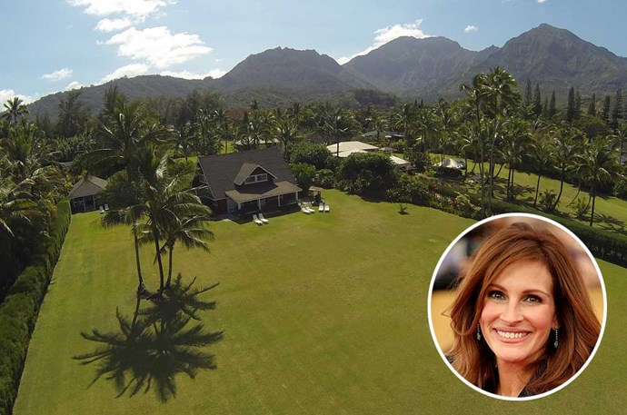 "</P><P><B>Julia Roberts</B></P><P> Location: Hanalei, Hawaii</p><p> Roberts' gorgeous oceanfront property is the ultimate Hawaiian getaway. The home, which she <a href=""http://www.zillow.com/blog/julia-roberts-selling-hawaii-estate-173249/"">listed for $40 million</a> last year, is located in star-studded Hanalei, where celebs like Mark Zuckerberg and Chuck Norris have also bought summer homes."