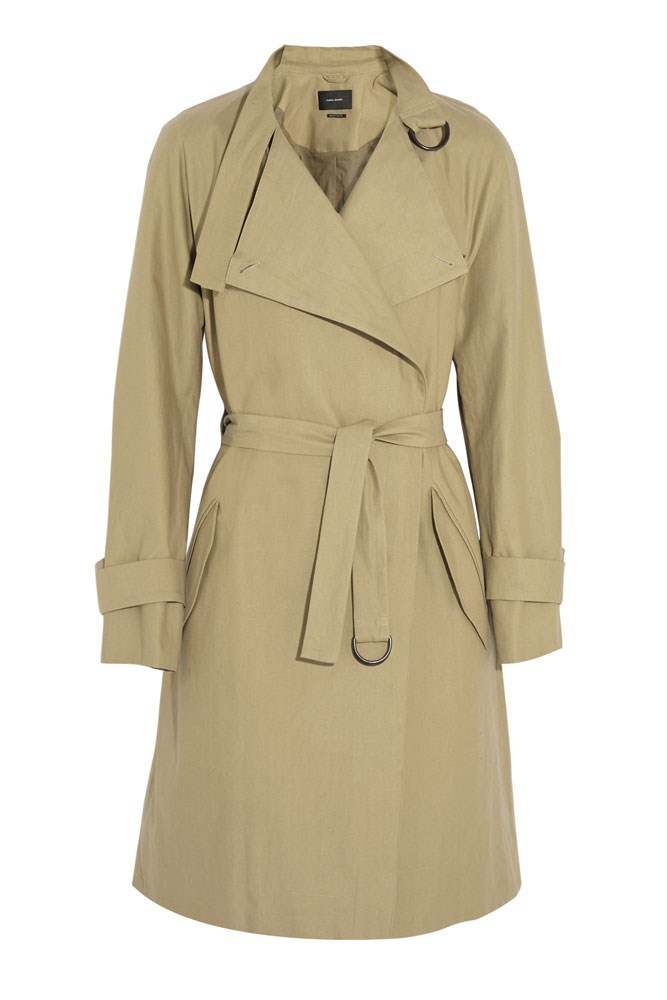 "<a href=""https://www.theoutnet.com/en-AU/product/Isabel-Marant/Cotton-and-linen-blend-trench-coat/702297"">Coat, approx. $309, Isabel Marant at theoutnet.com</a>"