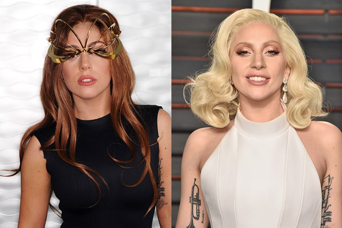 Lady Gaga often rocks a blonde colour (in addition to quite a few others) but she's a natural brunette.