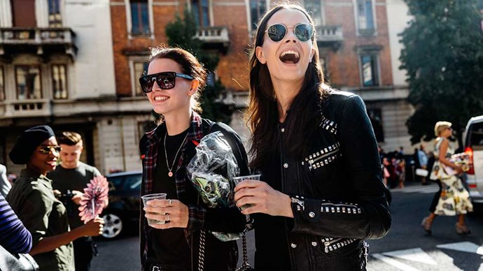 Models Katlin Aas and Mina Cvetkovic exit the Etro show during the Milan Fashion Week