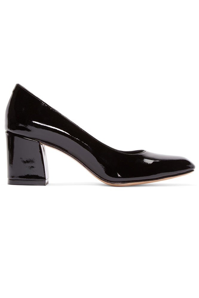 "<a href=""https://www.ssense.com/en-us/women/product/maryam-nassir-zadeh/black-patent-two-tone-pumps/1473763"">Pumps, approx. $525, Maryam Nassir Zadeh at ssense.com</a>"