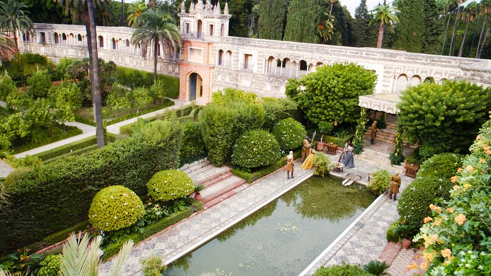 <strong>GO VISIT: REAL ALCAZAR DE SEVILLA</strong> <br><br> This ancient royal fortress in Seville, Spain provided the remarkable setting for Dorne's Sunspear castle and water gardens. It was constructed in the 10th century under Moorish influence, which is visible in the tile details and intricate arches.
