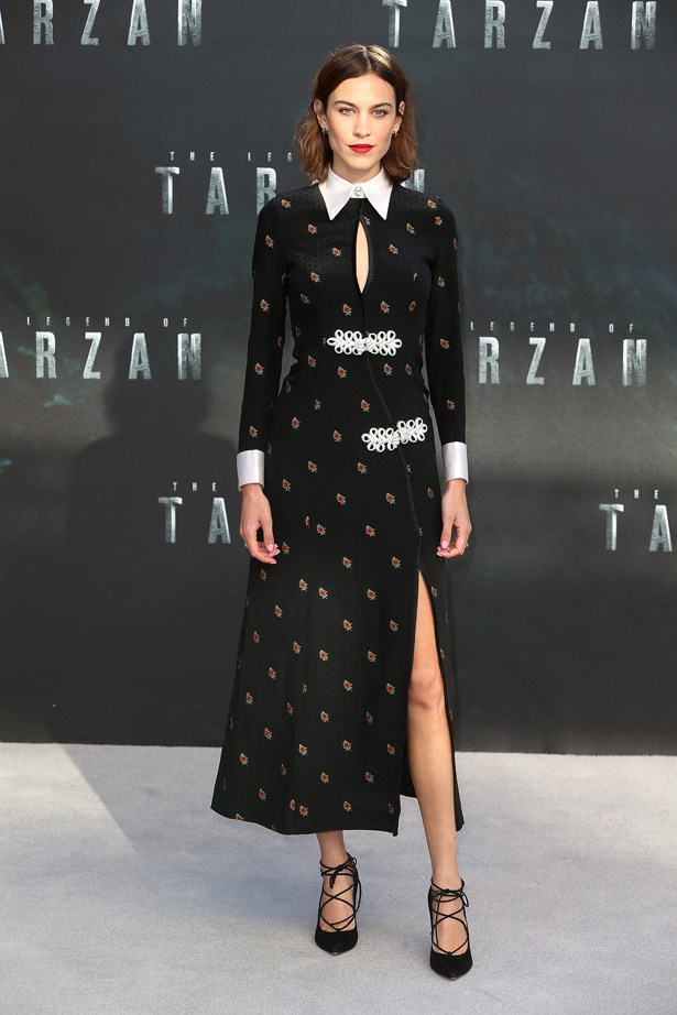 Alexa joined her boyfriend Alexander Skarsgård at the premiere of his new film 'Tarzan' in a rose-printed dress with a white collar and lace-up pumps.