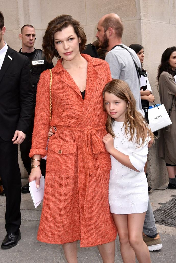 Milla Jovovich (and her daughter Ever Gabo) at Chanel
