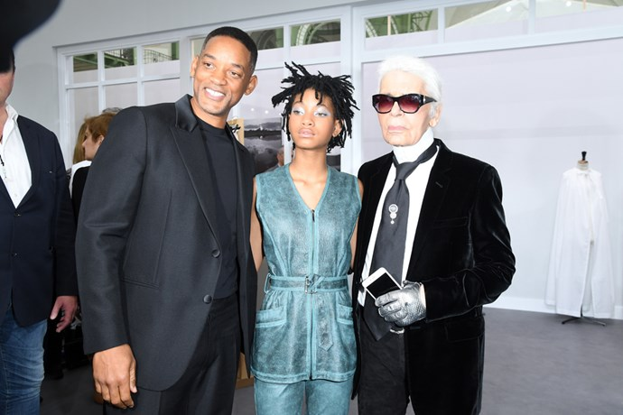 Will and Willow Smith with Chanel's Karl Lagerfeld