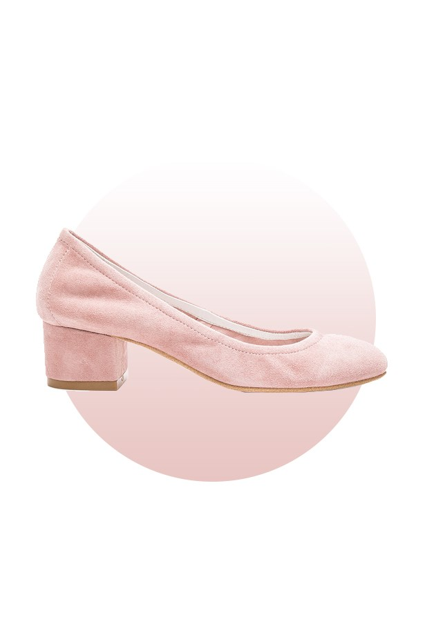 "Shoes, $151, <a href=""http://www.revolveclothing.com.au/jeffrey-campbell-bitsie-heel-in-rose-suede/dp/JCAM-WZ661/?d=Womens"">Jeffrey Campbell at revolveclothing.com</a>."