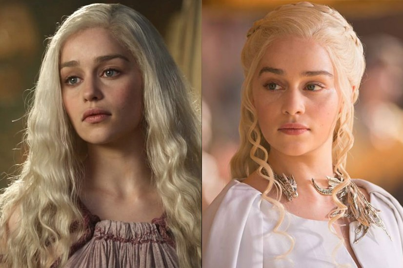 Daenerys Targaryen in season one, and in season six.