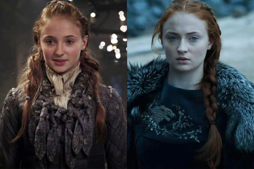 Sansa Stark in season one, and in season six.