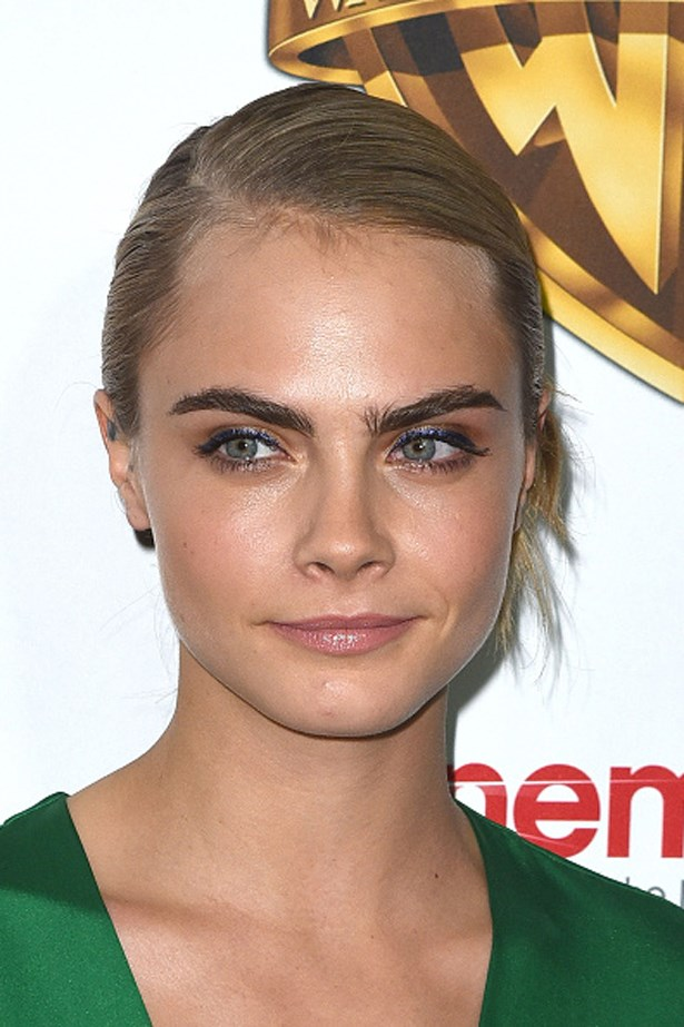 The reigning princess of brows, Cara Delevingne, shown here with her signature, filled-in pair at the 2016 CinemaCon.