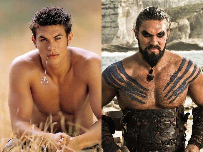 </p><p><b>Jason Mamoa</b> as Jason in <em>Baywatch</em> (2003), and as Khal Drogo in <em>Game of Thrones</em>.