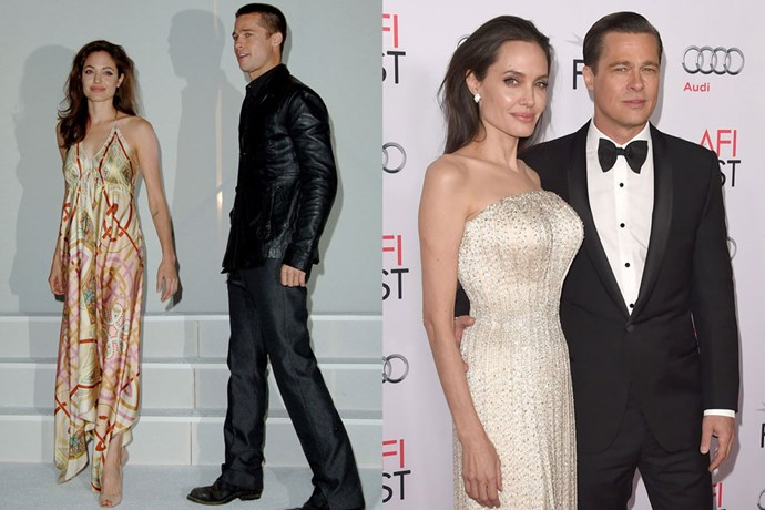 <strong>Angelina Jolie and Brad Pitt</strong><br>Pitt admitted he fell in love with Angelina Jolie when they co-starred in <em>Mr. & Mrs. Smith</em> in 2004, but the two knew better than to get cosy in public—he was still married to Jennifer Aniston. But 12 years and six kids later, the two are still together and happily married.