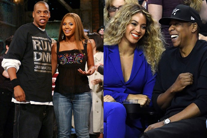 <strong>Beyoncé Knowles and Jay Z (real name Shawn Carter)</strong><br> Bey and Jay are thought to have started dating after recording ''03 Bonnie & Clyde' in 2003. They married in April of 2008 and Bey gave birth to daughter Blue Ivy in 2012.