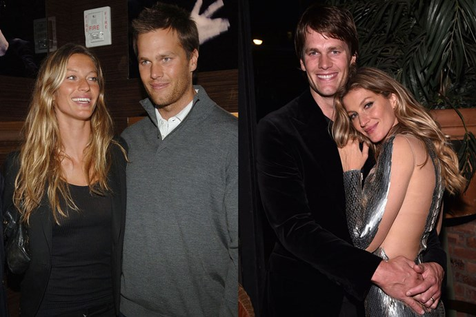 <strong>Gisele Bündchen and Tom Brady</strong><br> Bündchen dated Josh Hartnett and Leonardo DiCaprio before meeting Brady in 2006 through a mutual friend. They married in 2009 and have two children, Benjamin Rein and Vivian Lake.