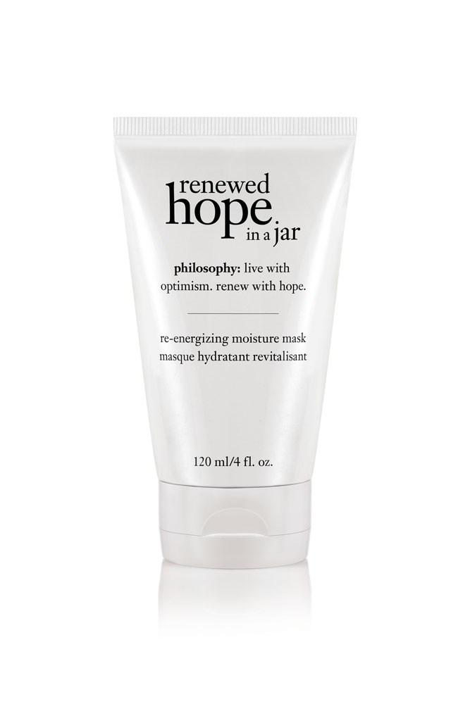 "The Mask<br> <a href=""http://www.philosophyskincare.com.au/"">Renewed Hope In A Jar Re-Energising Moisture Mask, $45 for 120ml, Philosophy </a>"