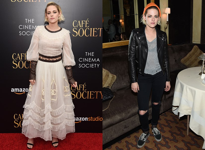 Even though she arrived in this white Chanel dress, Kristen did a quick change in the bathroom at the event and spent the rest of the night in jeans, sneakers, a jacket and an orange beanie.