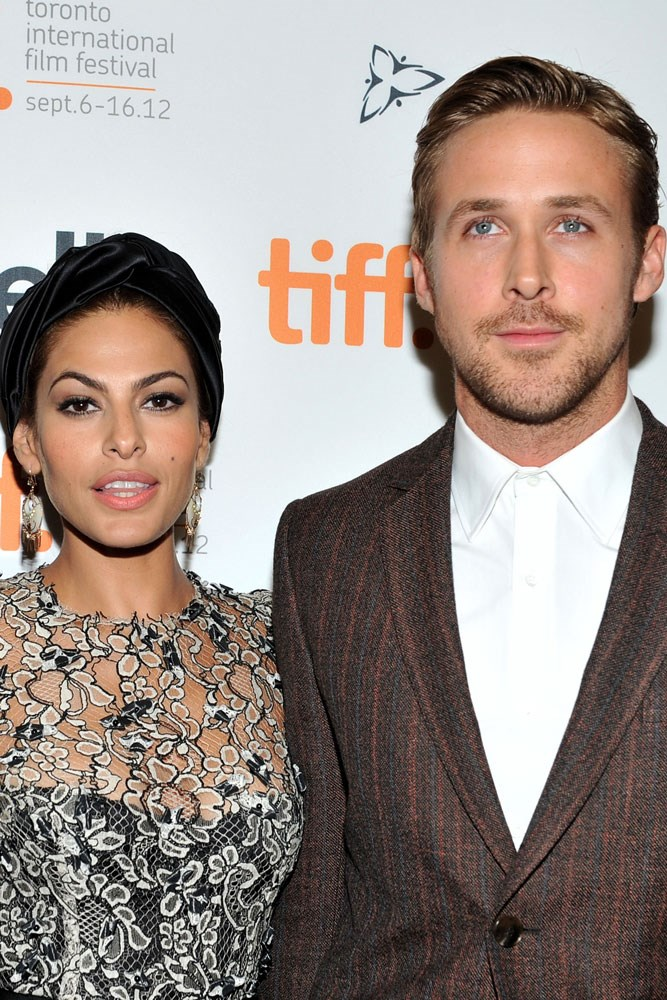 <strong>Eva Mendes and Ryan Gosling</strong><br> The two met while filming <em>The Place Beyond The Pines</em> in 2012, and now have two children together.