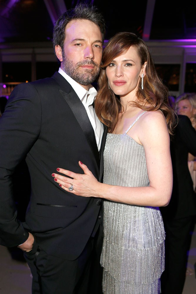 """<strong>Ben Affleck and Jennifer Garner</strong><br> Despite meeting on the set of <em>Pearl Harbor</em> in 2001, Affleck says the two fell in love while filming <em>Daredevil </em>in 2004. After 10 years of marriage they filed for divorce in June of last year, but have reportedly put those proceedings on hold and are """"making it work."""""""