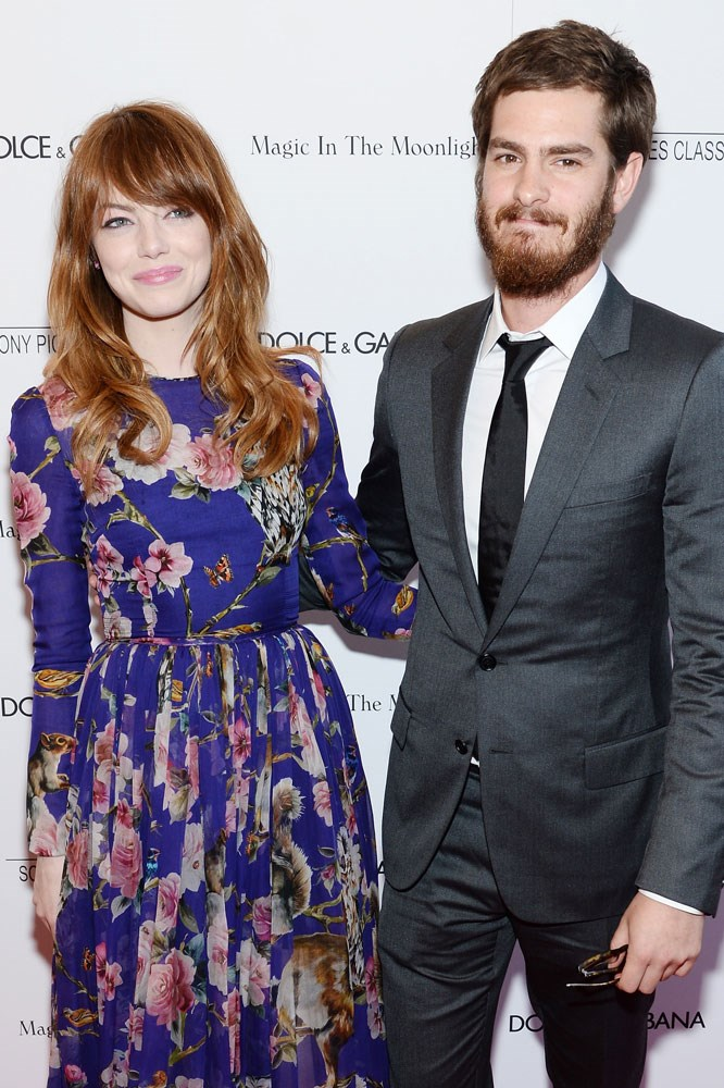 """<strong>Emma Stone and Andrew Garfield</strong><br> The notoriously paparazzi-shy couple first met in 2010, during Stone's screen test for<em> The Amazing Spider-Man</em>. Garfield told Teen Vogue: """"It was like I woke up when she came in... It was like diving into whitewater rapids and having no desire to hang onto the side. Throughout shooting, it was wild and exciting."""""""