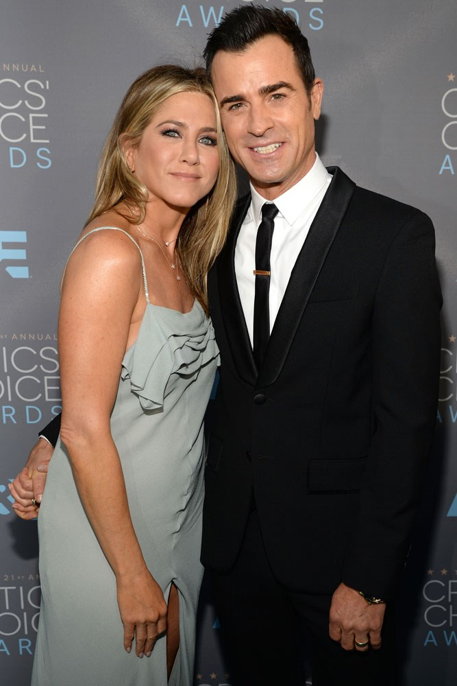 <strong>Jennifer Aniston and Justin Theroux</strong><br> While they first met in 2008, Aniston and Theroux grew close on the 2012 set of <em>Wanderlust</em>, and started dating the following summer. They married in a surprise wedding ceremony last year.
