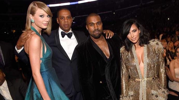 Taylor Swift, Jay Z, Kanye West, and Kim Kardashian