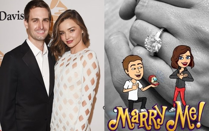 Miranda Kerr is engaged to her boyfriend of one year, Snapchat CEO and co-founder Evan Spiegel. She announced the news on none other than Snapchat (with a custom filter, no less), after being spotted in New York only a couple of days ago sans ring. Kerr was married once before, to Orlando Bloom in 2010. This will be the first marriage for 26-year-old Spiegel.