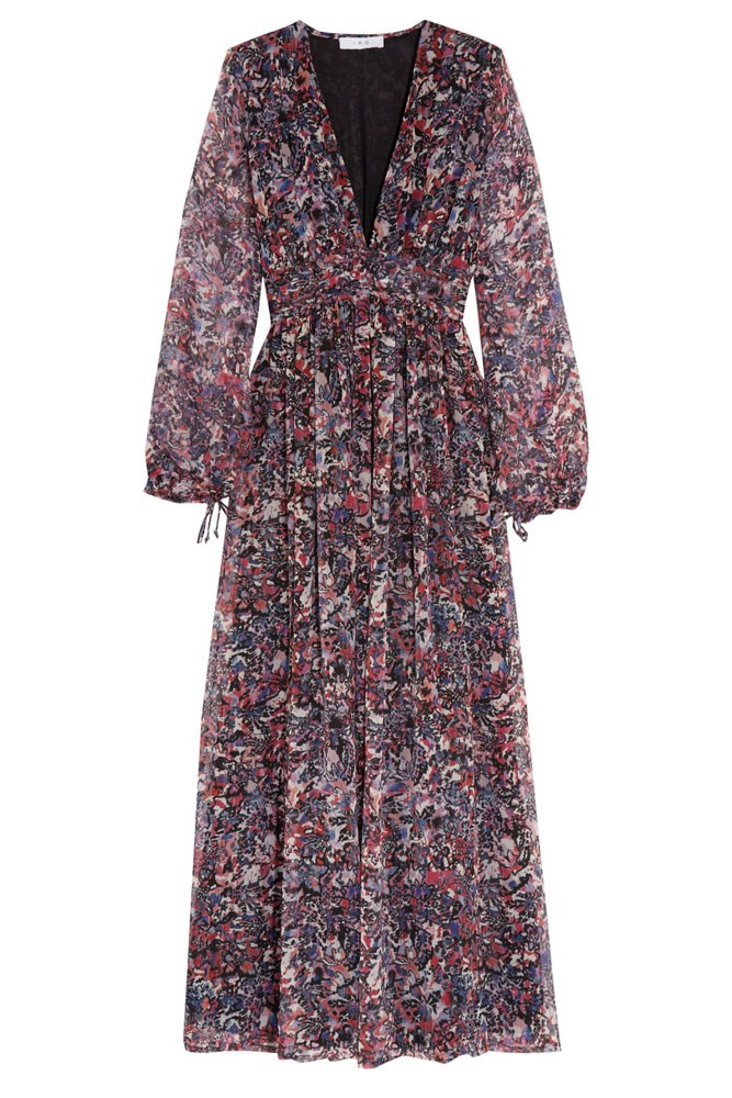 "<a href=""https://www.net-a-porter.com/au/en/product/659252/IRO/kimie-printed-silk-chiffon-maxi-dress"">Dress, $285, Iro at net-a-porter.com</a>"